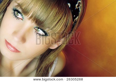 trendy fashionable teenager with gorgeous eyes