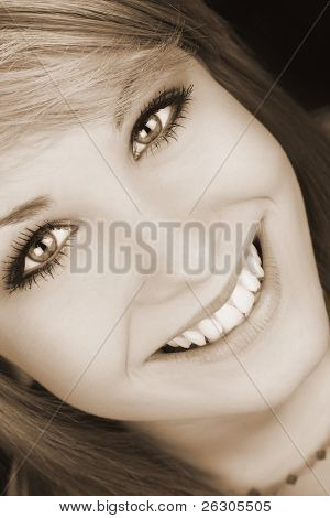 close-up of a beautiful teenage girl , focus on the eyes.