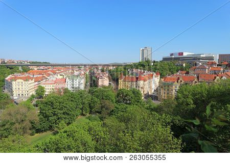 Prague, The Czech Republic - Aprile 26, 2018: Nuselsky Most, Corinthia Towers Hotel And Prague Congr