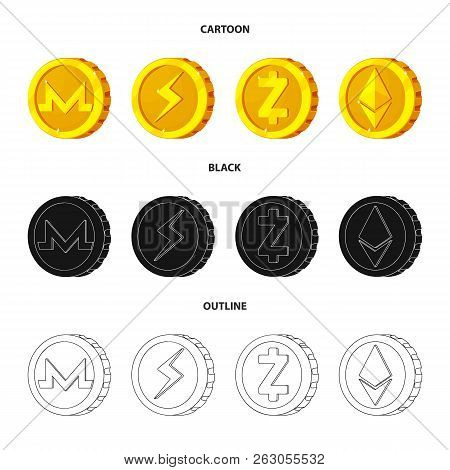 Vector Design Of Cryptocurrency And Coin Icon. Set Of Cryptocurrency And Crypto Stock Symbol For Web