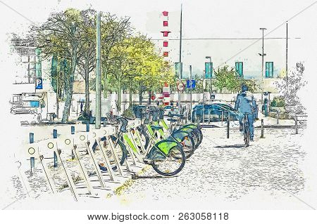 A Watercolor Sketch Or An Illustration. Street Bike Rental In Lisbon In Portugal. The Man Rented A B
