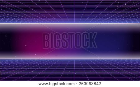 Retro Futuristic Background 1980s Style. 80s Retro Sci-fi Background. Bright Abstract Retro Backgrou