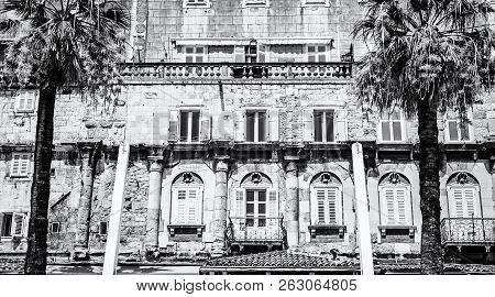 Mediterranean Architecture In Split, Croatia. Architectural Scene. Travel Destination. Black And Whi