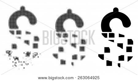 Disappear Dollar Icon In Dispersed, Dotted Halftone And Undamaged Solid Versions. Points Are Compose
