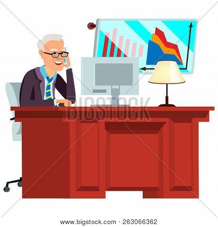 Old Office Worker Vector. Face Emotions, Various Gestures. Busin