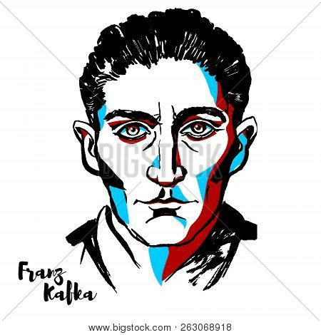 Moscow, Russia - August 21, 2018: Franz Kafka Engraved Vector Portrait With Ink Contours. German-spe