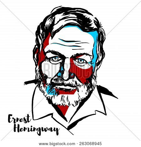 Moscow, Russia - June 25, 2018: Ernest Hemingway Engraved Vector Portrait With Ink Contours. America