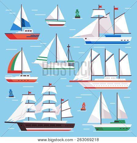 Sail Boat. Transportation Sailboat For Water Sailboat Race. Flat Luxury Sailing Vector Illustration