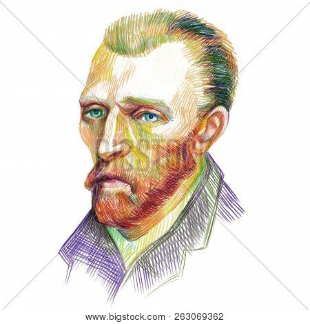 Vincent Van Gogh Artist Portrait Drawn With Color Pencils