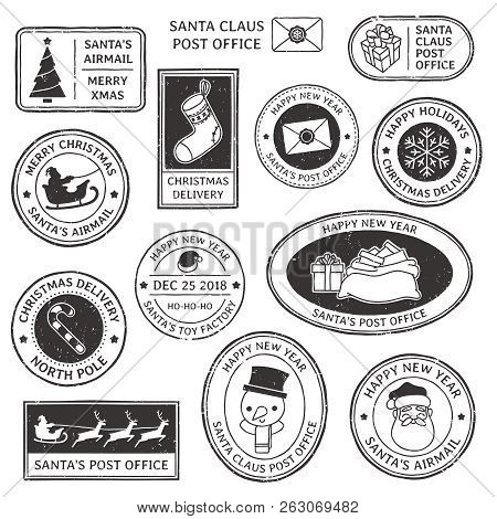 Christmas Stamp. Vintage Santa Claus Postmark, North Pole Mail Cachet And Snowflake Symbol On Stamps