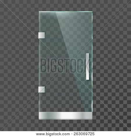 Realistic Glass Door. Modern Clear Doors With Steel Frame For Shop Store Or Office Isolated Vector I
