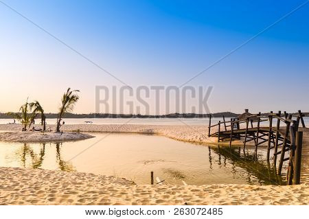 Bilene Beach Lagoon Is A Turqoise Green Beach , Lagoon , Back Waters.sunset And Sparkling Water Can