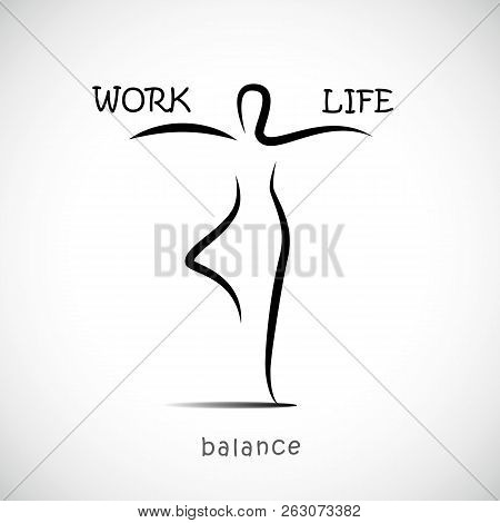 Person Standing In Yoga Pose And Balancing Between Work And Life Vector Illustration Eps10
