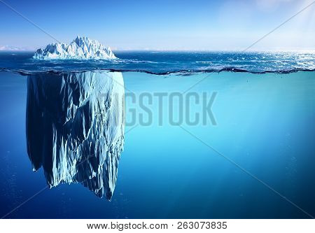 Iceberg Floating On Sea - Appearance And Global Warming Concept, 3d Illustration