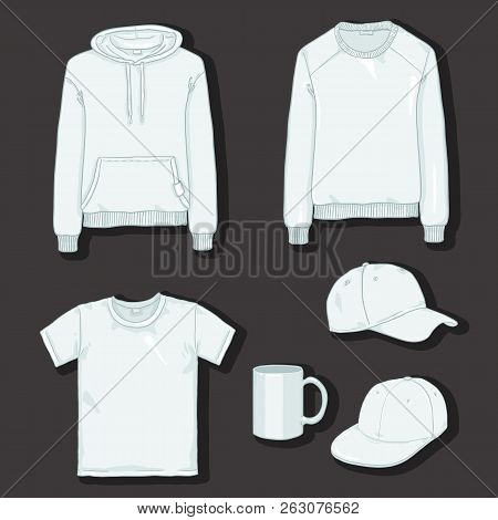 Vector Set Of White Items For Print. Clothes And Cup Templates