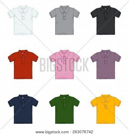 Vector Set Of Cartoon Polo Shirts. Color Variations.
