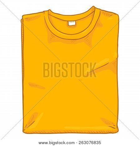 Vector Single Cartoon Illustration - Folded Yellow T-shirt