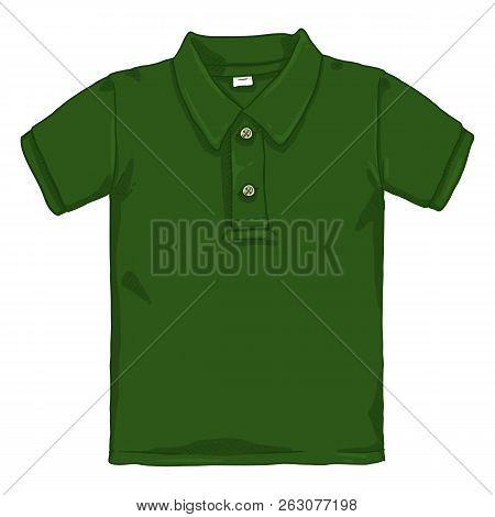 Vector Single Cartoon Illustration - Green Polo Shirt