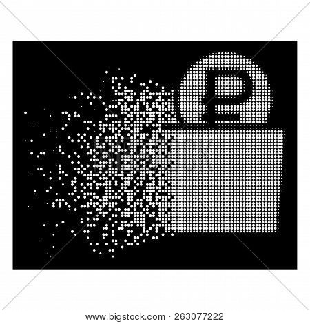 Rouble wallet icon with dissipated style on black background. White particles are composed into vector dispersed halftone rouble wallet icon. Disappearing effect uses small round fragments. poster