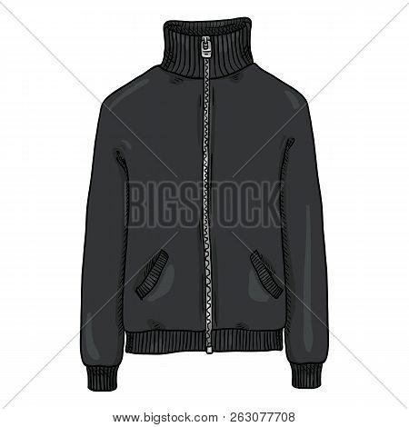Vector Single Cartoon Illustration - Black Sport Jacket With Zipper