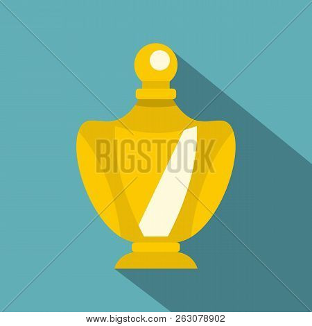 Elegant Woman Perfume Yellow Glass Bottle Icon. Flat Illustration Of Elegant Woman Perfume Yellow Gl