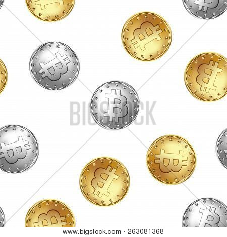 Bitcoin Golden And Silver Coin Seamless Pattern. Randomly Flying And Falling Coins. Money And Financ