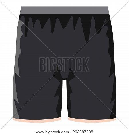 Black Soccer Shorts Icon. Cartoon Illustration Of Black Soccer Shorts Icon For Web