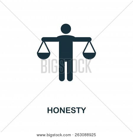 Honesty Icon. Monochrome Style Design From Business Ethics Icon Collection. Ui And Ux. Pixel Perfect