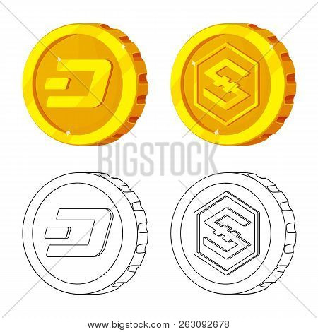 Vector Illustration Of Cryptocurrency And Coin Symbol. Set Of Cryptocurrency And Crypto Stock Vector
