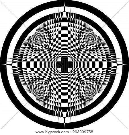 Abstract Arabesque Hypnotic Target Concept Spherycal Perspective Black On Transparent Background