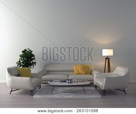 Living Room Interior With Sofa, Pillows, And Coffee Table On Light Wall Background. 3d Rendering.