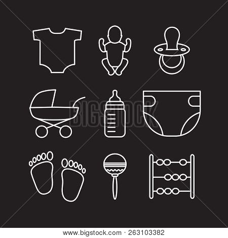 Vector Set Of Outline Baby Icons Such As Baby Carriage, Diaper, Feeding Bottle, Rattle, Baby, Pacifi