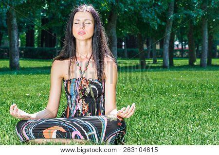 Beauty Woman Doing Yoga, Smiling. Boho Hippie Girl Meditates, Enjoying Calm, Relax And Harmony, Ethn