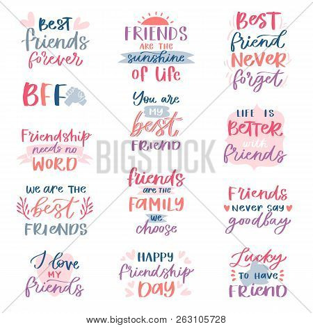 Friend Lettering Vector Friendship Card Typography And Friendly Calligraphy Logotype Design With Tex