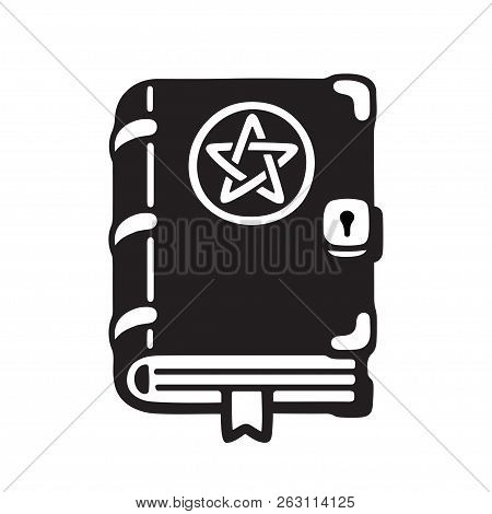 Dark Magic Spell Book Cartoon Drawing, Cute Black And White Wiccan Grimoire. Isolated Vector Illustr