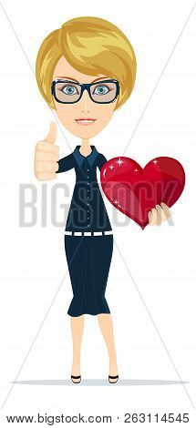 Attractive Blonde Girl With Red Heart Symbol Smiling - Isolated On White. Stock Flat Vector Illustra