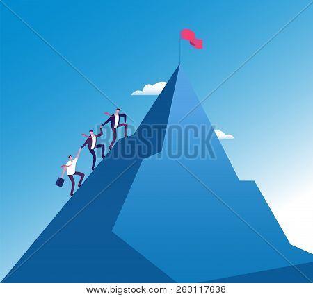 Businessmen Climb Mountain. Success Teamwork Corporate Growth, Mission Achievement Vector Concept. I