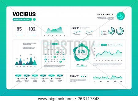 Infographic Dashboard. Admin Panel Interface With Green Charts, Graphs And Diagrams. Website Design