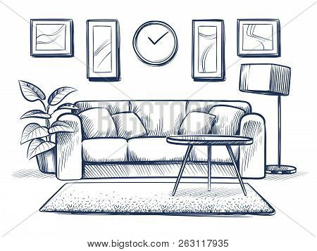 Sketch Interior. Doodle Living Room With Sofa, Cushions And Picture Frames On Wall. Freehand Drawing