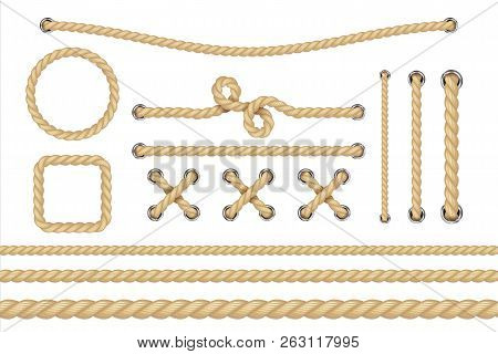 Nautical Rope. Round And Square Rope Frames, Cord Borders. Sailing Vector Decoration Elements. Rope