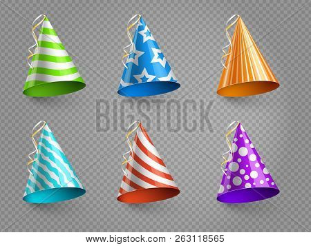 Realistic Party Hats Vector Set Isolated On Transparent Background. Illustration Of Colored Hat For