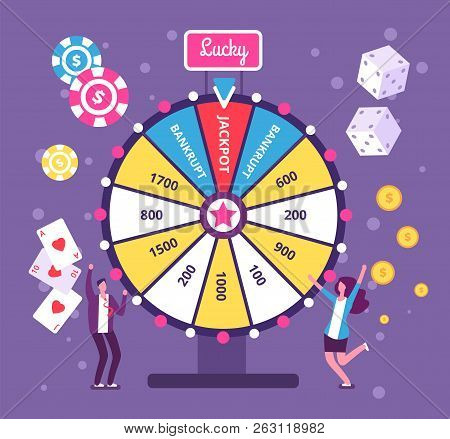 Game Wheel Concept. People Playing Risk Game With Fortune Wheel And Lottery. Casino And Gambling Vec