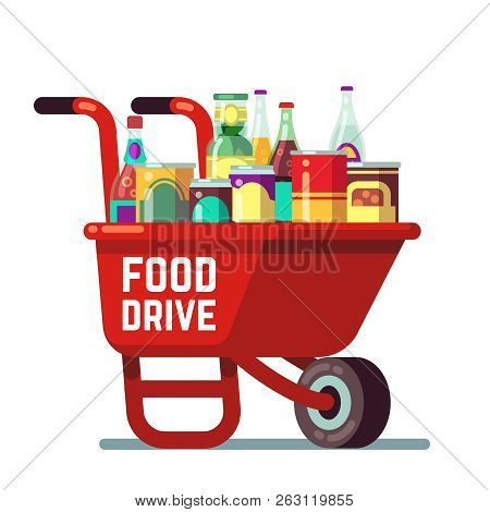Food Drive Bank Thanksgiving And Christmas Holiday Donation Vector Concept. Wheelbarrow With Canned