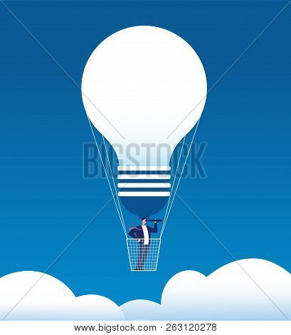 Businessman On Balloon. Man With Spyglass In Air Balloon Like Bulb. Business Opportunity, New Idea A