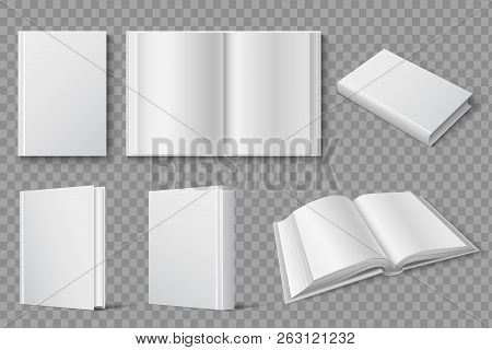 Book Mockup. Blank White Closed And Open Books. Textbooks And Brochures Isolated Vector Template. Co