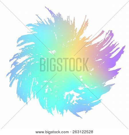 Grunge stain. Holographic. Rainbow colors. Ink splash. Isolated backdrop for text or logo. Liquid st