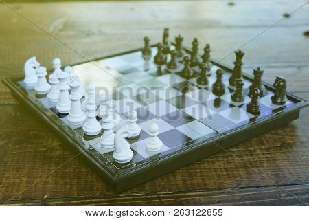 Black And White Chess Pieces On A Chess Board,pawns Staying Against Each Other On Chess Board,with S