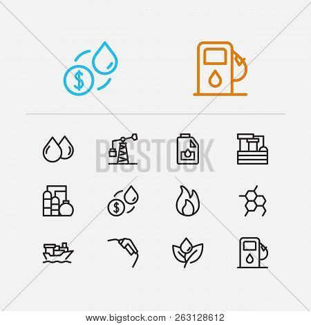Petrol Icons Set. Plant And Petrol Icons With Chemical Reaction, Oil Drop And Petrol Station. Set Of