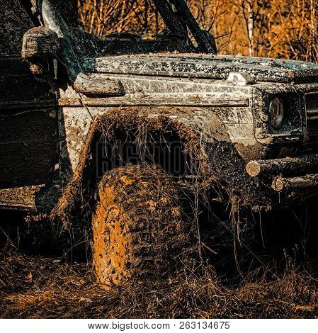 Best Off Road Vehicles. Track On Mud. 4x4 Off-road Suv Car. Safari Suv. Safari. Bottom View To Big O