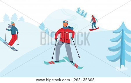 Winter Holidays Recreation Sport Activity. Ski Resort Landscape With Characters Skiing And Snowboard